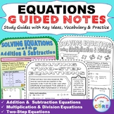 EQUATIONS Doodle Math - Interactive Notebooks (Guided Notes)