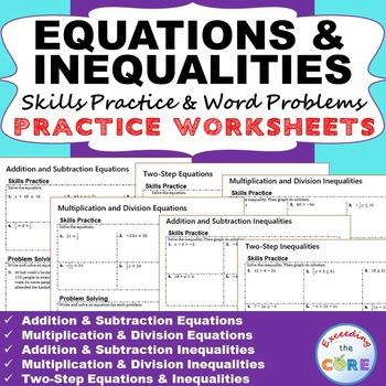 EQUATIONS & INEQUALITIES Homework /Assessments - Skills Practice & Word Problems