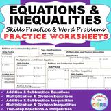 EQUATIONS & INEQUALITIES Homework Worksheets - Skills Practice & Word Problems