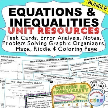 EQUATIONS & INEQUALITIES Task Cards, Error Analysis, Graphic Organizer, HW Notes