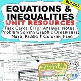 EQUATIONS & INEQUALITIES Bundle Task Cards, Error Analysis, Word Problems, Notes