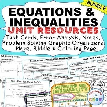 EQUATIONS & INEQUALITIES Task Cards, Error Analysis, Graph
