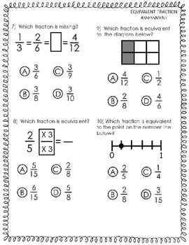 EQUIVALENT FRACTION ASSESSMENT: 10 Question GRADECAM test for CCSS 4.NF.A.1