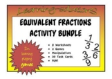 EQUIVALENT FRACTIONS ACTIVITIES - Worksheets, Task Cards, Games, Manipulatives