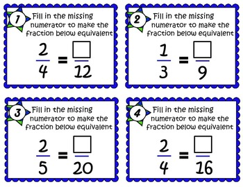 EQUIVALENT FRACTIONS SCOOT CARDS 2 SETS- Great Intro to = Fractions
