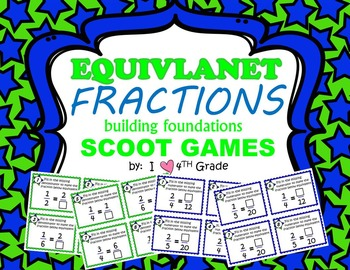 EQUIVALENT FRACTIONS SCOOT CARDS 2 SETS- Great Intro to =