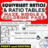 EQUIVALENT RATIOS AND RATIO TABLE Maze, Riddle, Coloring Page | Print or Digital