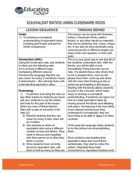 EQUIVALENT RATIOS USING CUISENAIRE RODS