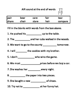 ER AR OR AIR EAR IRE Vocalic R Worksheets