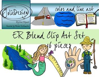 ER Blend Phonics Clip Art Set - Color and Line Art 16 pc set