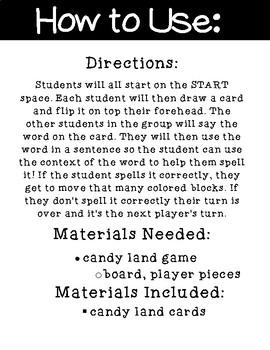 ER Candy Land Cards