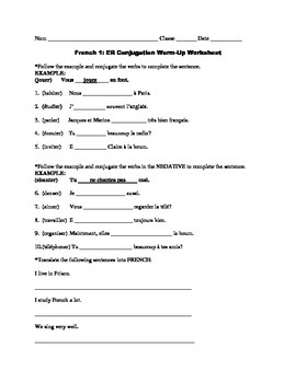 ER Conjugation Worksheet