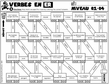 ER Verbs French/Verbes ER/French Verb Game -grammar/conjugation game (MAZE)