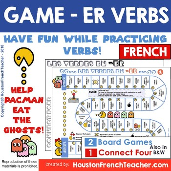 ER French verb game board - French grammar game + Connect 4