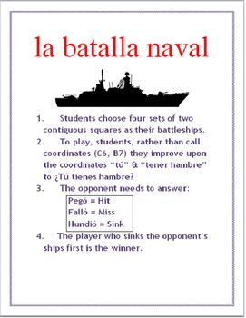 ER & IR Preterit Grid Battleship SPANISH