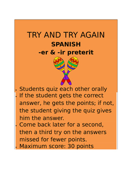 ER & IR Preterit SPANISH  Try and Try Again