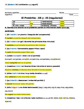 ER IR Preterite Sentence Practice (Avancemos 2 Unit 2 Lesson 1)