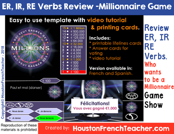 ER IR RE French Verbs (Verbes) Review Game - Millionaire Game Review (editable)