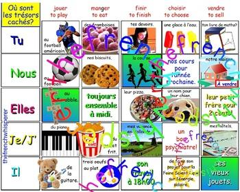 Où sont les trésors cachés? (ER, IR, RE verbs)  FRENCH