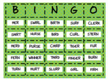 ER, IR, & UR Ambiguous Vowel BINGO