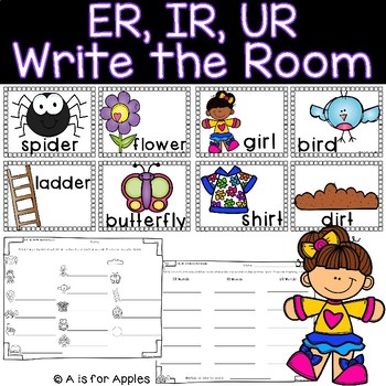 ER, IR, UR Words Write the Room {R-Controlled Vowels}