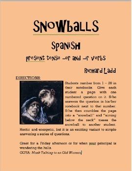 ER IR Verbs Snowballs SPANISH