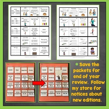 Preterite ER Verbs Spanish Interactive Notebook Trifold Flashcards, Pretérito