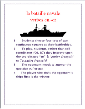 ER Verb FRENCH Speaking Battleship