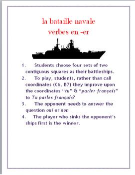 ER Verb FRENCH Speaking Battleship