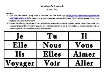 Travel Unit Verb Game (Aimer, Voyager, Voir, Aller, Apporter)