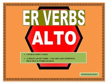 Spanish ER Verbs- Conjugation Table - Writing Practice & W
