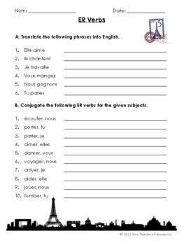 ER Verbs - Notes, Worksheet, and Game to Introduce French ER Verbs