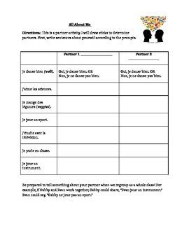 ER Verbs Partner Discussion Sheet