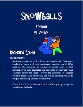 ER Verbs Snowballs FRENCH