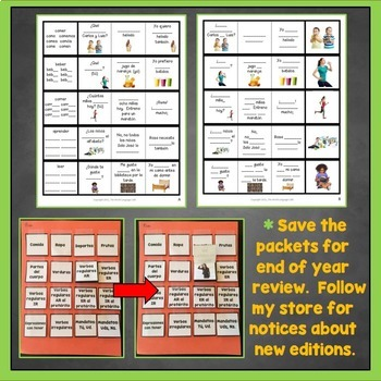ER Verbs Spanish Interactive Notebook Trifold Flashcards