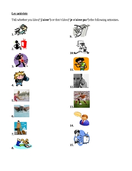 ER activities / ER verbs in French like or dislike worksheet 1