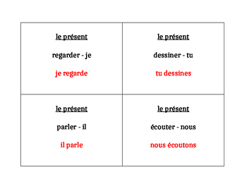 ER verbs in French Present tense Question Question Pass activity