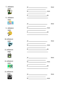ER verbs in French Present tense worksheet 14