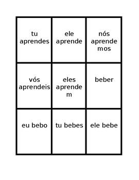 Verbos em ER (ER verbs in Portuguese) Present tense Spoons game / Uno game