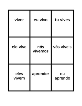 ER verbs in Portuguese Present tense Spoons game / Uno game