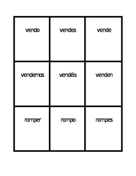 ER verbs in Spanish present tense Spoons game / Uno game