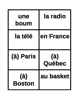 ER verbs in French present tense sentence builder activity