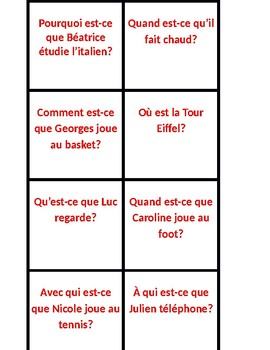 Questions d'information ER verbs present tense French Slapjack game