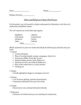 ERC Ipad/Book Creator Project Info Sheet + Rubric