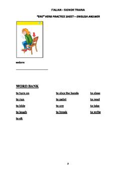 "Italian Made Simple: ""ERE"" Verb Worksheet - English Translation"