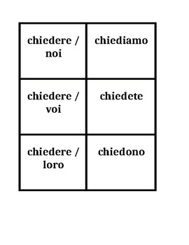 ERE verbs in Italian Present tnese Concentration games