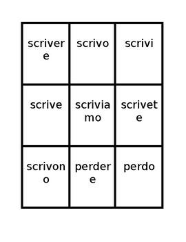 Verbi con ERE (ERE Verbs in Italian) Present tense Spoons game / Uno game