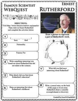 ERNEST RUTHERFORD - WebQuest in Science - Famous Scientist - Differentiated