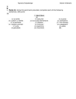 ESAMINO: L'infanzia Italian II HONORS