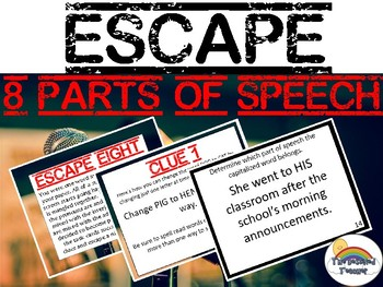 ESCAPE 8 (Eight) Parts of Speech Task Card Test Prep Review Game Activity